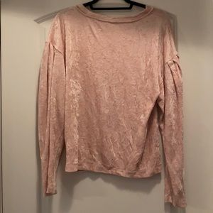 Free People velvet pink top